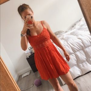 Flowy Topshop Red Lace Dress